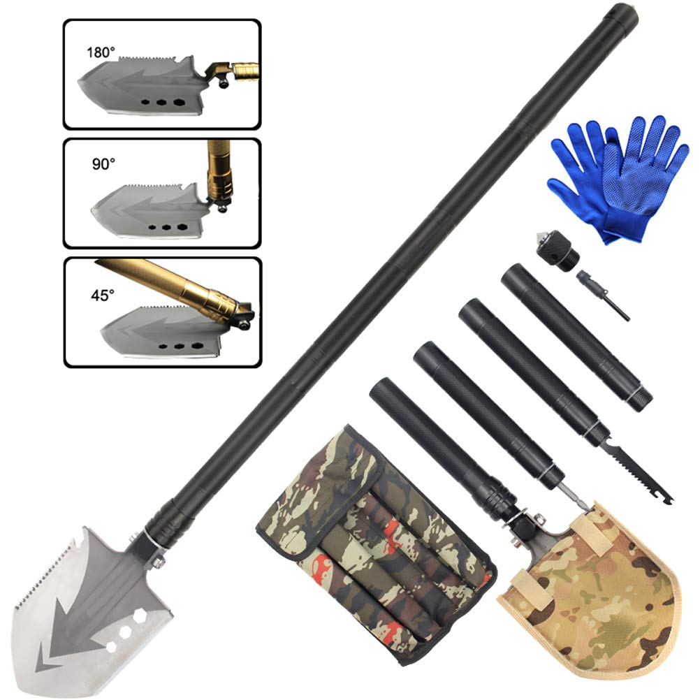 Sunlightam Military Folding Shovel Multitool - Heavy Duty Compact Multitool Military Survival Shovel for Camping Backpacking Hiking Car Emergency with Carrying Case 36'' (Black)