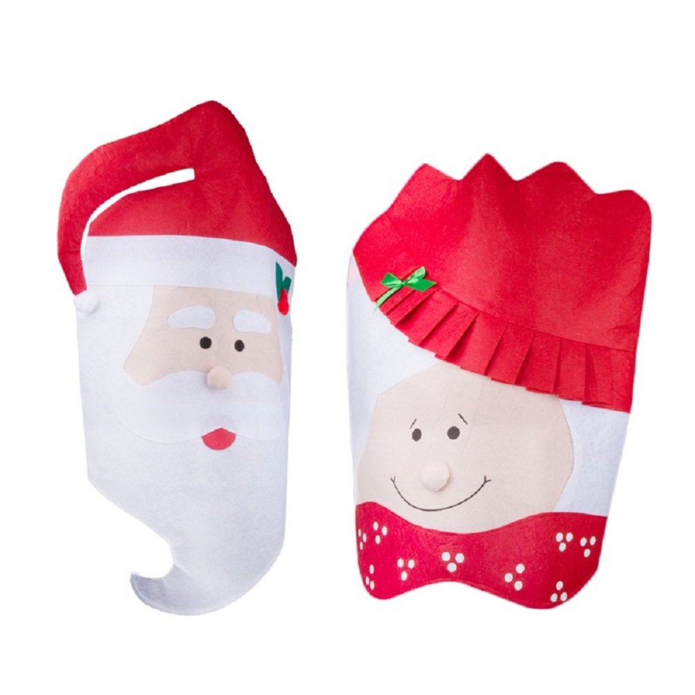 2Pcs Christmas Kitchen Chair Cover Featuring Mr And Mrs Santa Claus Christmas Dining Room Chairs