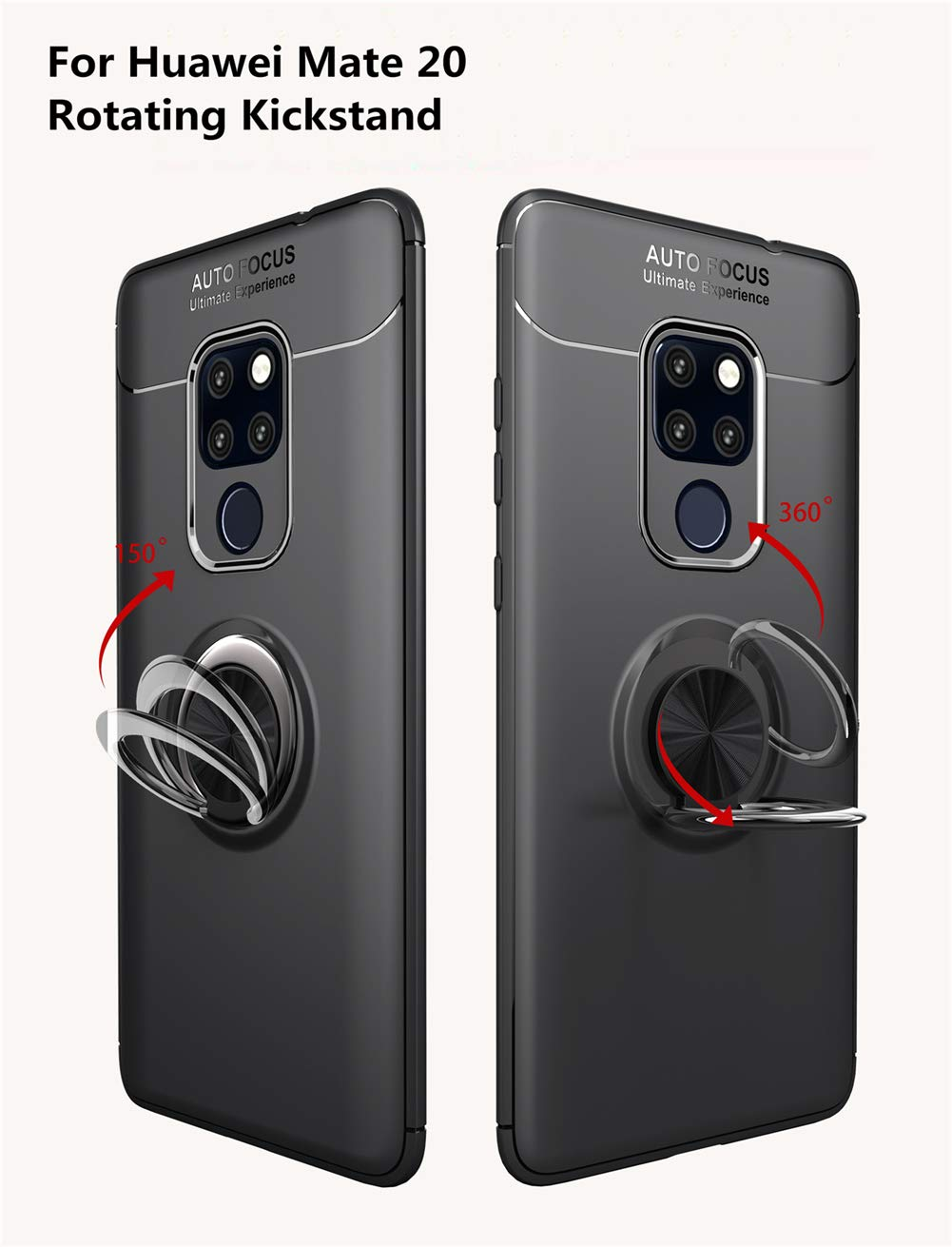 Magnetic Car Mount for Huawei Mate 20 Black//Black Huawei Mate 20 Case,360/° Rotating Ring Kickstand Protective Case,TPU+PC Shock Absorption Double Protection Cover Compatible with