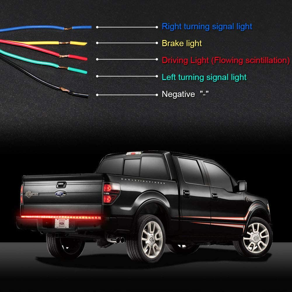 LED Tailgate Light Bar 60inch Strip with Directional Arrow Running Parking Light Sequential Turn Signal Brake 450pcs 60 Led Lights for Pickup Trailer SUV RV VAN Car Towing Vehicle Tailgate Arrow
