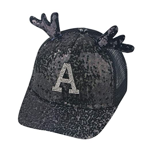 ab55a76c4 Yucode Summer Parent-Child Women Lady Sequin Hat Antler Letter ...