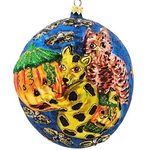 Larry Fraga FULL MOON. Blown Glass Halloween Ornament Kitty Bat 5254
