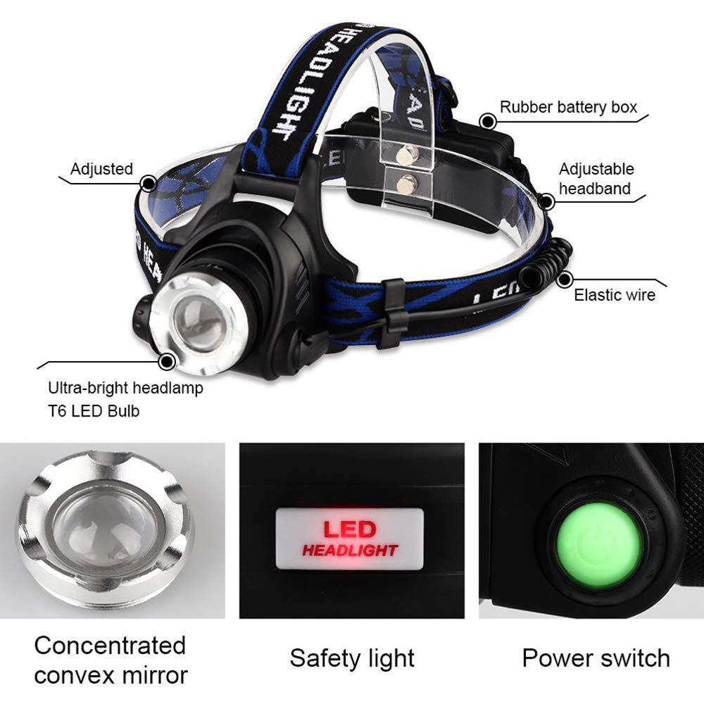 Cycling Dog Walking Snorda LED Head Torch Lightweight Waterproof Adjustable Angle Rechargeable Headlamps for Camping Fishing and DIY Running Reading Climbing Hiking