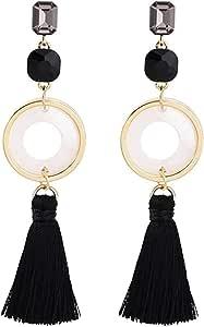 Pendientes Pendientes de borla moda exquisita temperamento clásico popular pendientes de círculo geométrico de moda larga exquisi