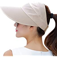 be1ce11476c HINDAWI Sun Hats Women Wide Brim UV Protection Summer Beach Packable Visor