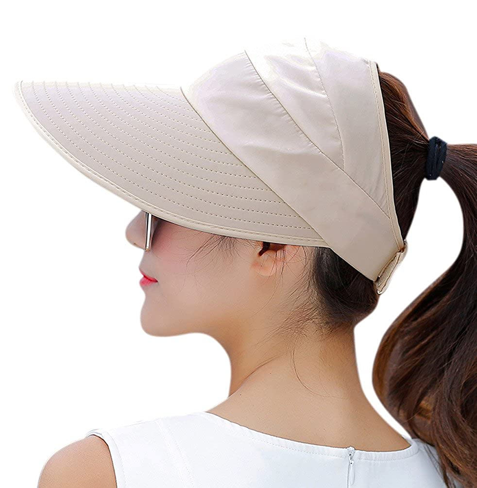 1e3d9166ea35c HINDAWI Sun Hat Sun Hats for Women Wide Brim UV Protection Summer Beach  Packable Visor Beige at Amazon Women s Clothing store