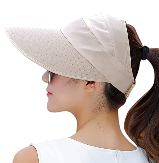 HINDAWI Sun Hat Sun Hats for Women Wide Brim UV Protection Summer Beach  Packable Visor Beige 70fd5344b26e