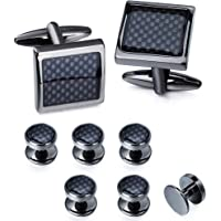 Carbon Fiber Cufflinks and Shirt Studs Set for Men Tuxedo Cuff Links Square with Gift Box Formal Business Wedding…