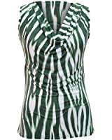 Zebra Print Draped Neckline Sleeveless Top