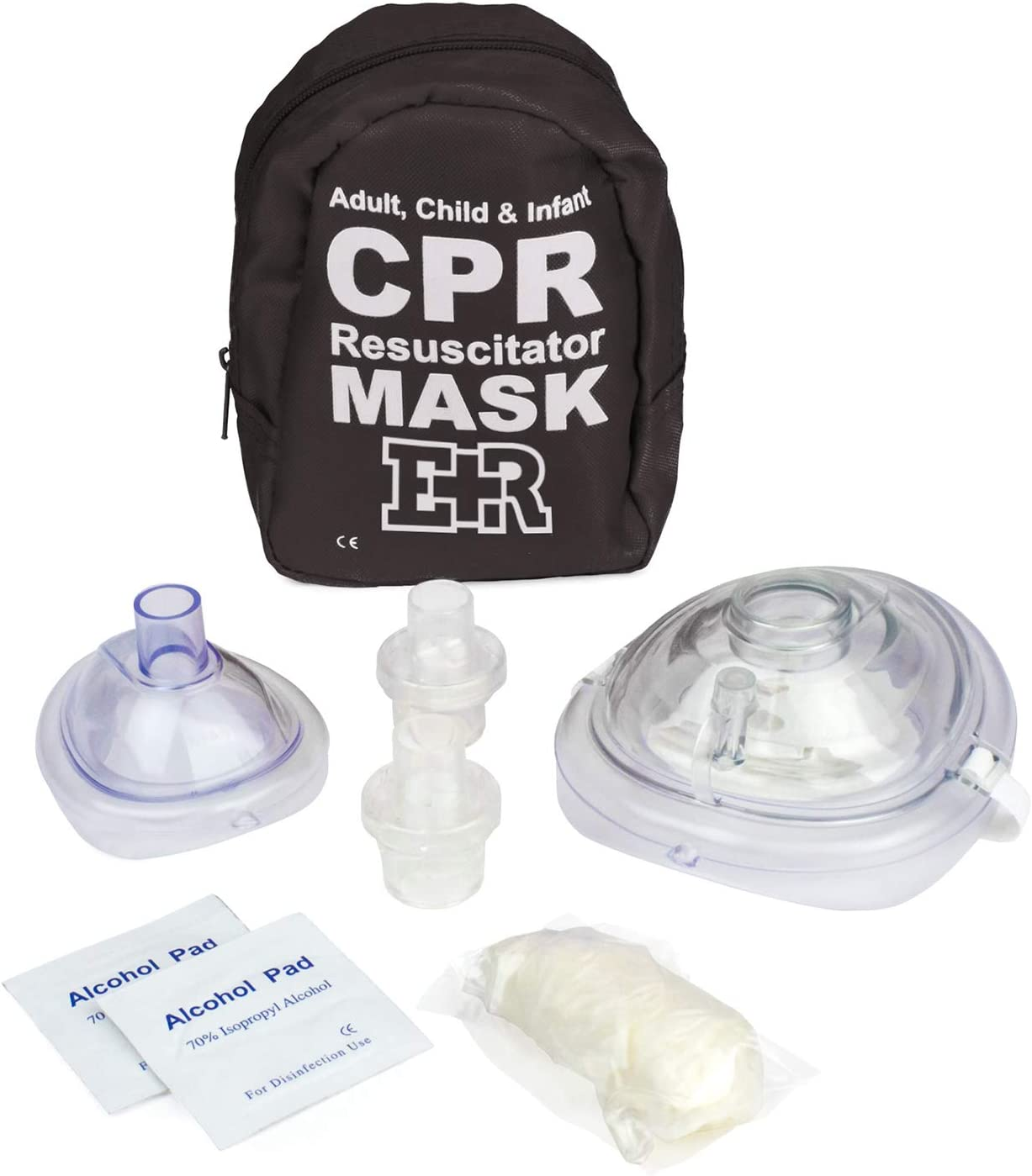 Ever Ready First Aid Adult and Infant CPR Mask Combo Kit with 2 Valves with Pair of Nitrile Gloves & 2 Alcohol Prep Pads - Tactical Black - 2 Pack: Health & Personal Care