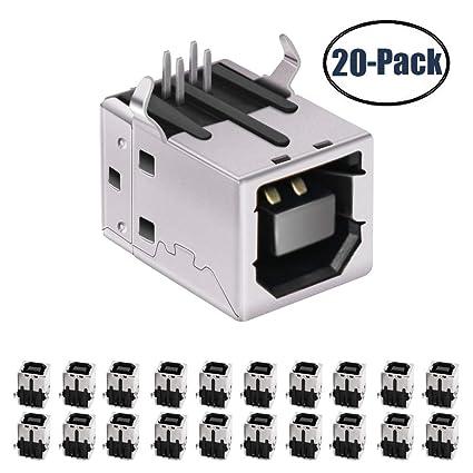 USB Female Type-B Port 4-Pin Right Angle PCB DIP Jack Socket 20 Pack by MXRS