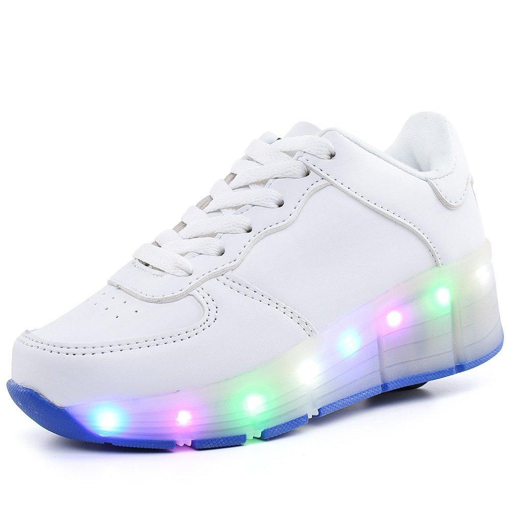 LED Light Up Shoes Skate Shoes Sport Shoes Dance Boot Unisex Christmas (White 12 M US Little Kid)