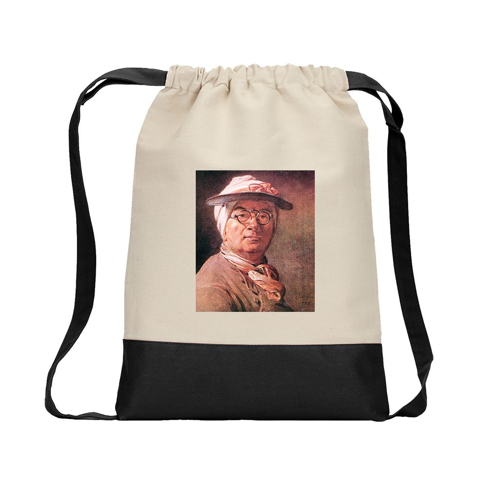 Self Portrait With Glasses (Chardin) Canvas Backpack Color Drawstring - Black