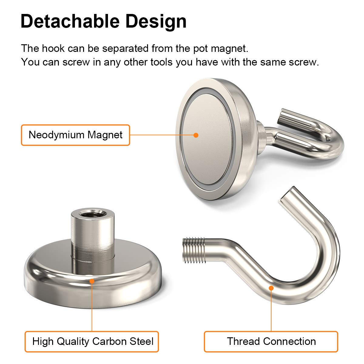 GREATMAG Magnetic Hooks Pack of 6 1.26 Diameter Super Powerful Neodymium Magnets for Hanging 80 lbs Heavy Duty Magnet Hooks