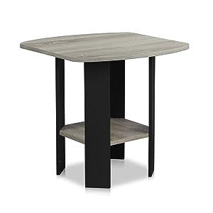 Furinno 11180GYW/BK End/Side Table, 1, French Oak Grey/Black
