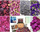 All Natural Bulk Dried Edible Flower 6 pack Kit for Bath Bomb, Resin, Candle, Tea Making -No Preservatives, No Additive. Lavender,Rose Bud, Peony, Globe Amaranth, Forget Me Not, Peony