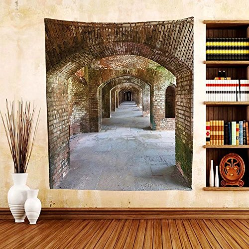 Gzhihine Custom tapestry Apartment Decor Tapestry Brick Arches At Dry Tortugas Old Fort Historic Heritage Tourist Attraction Vintage Deco Bedroom Living Room Dorm Decor - Deer Park At Arches