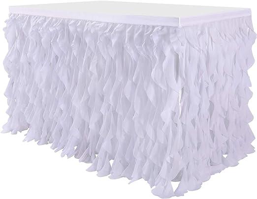Leegleri - Falda de mesa de mimbre rizada, falda de tul para mesa ...