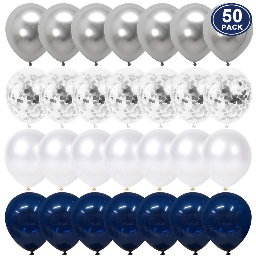50 Piezas de 12 Pulgadas de Confeti Azul Blanco y Globos met/álicos Plateados para Decoraciones de Bodas YMSZ Globos de Cumplea/ños