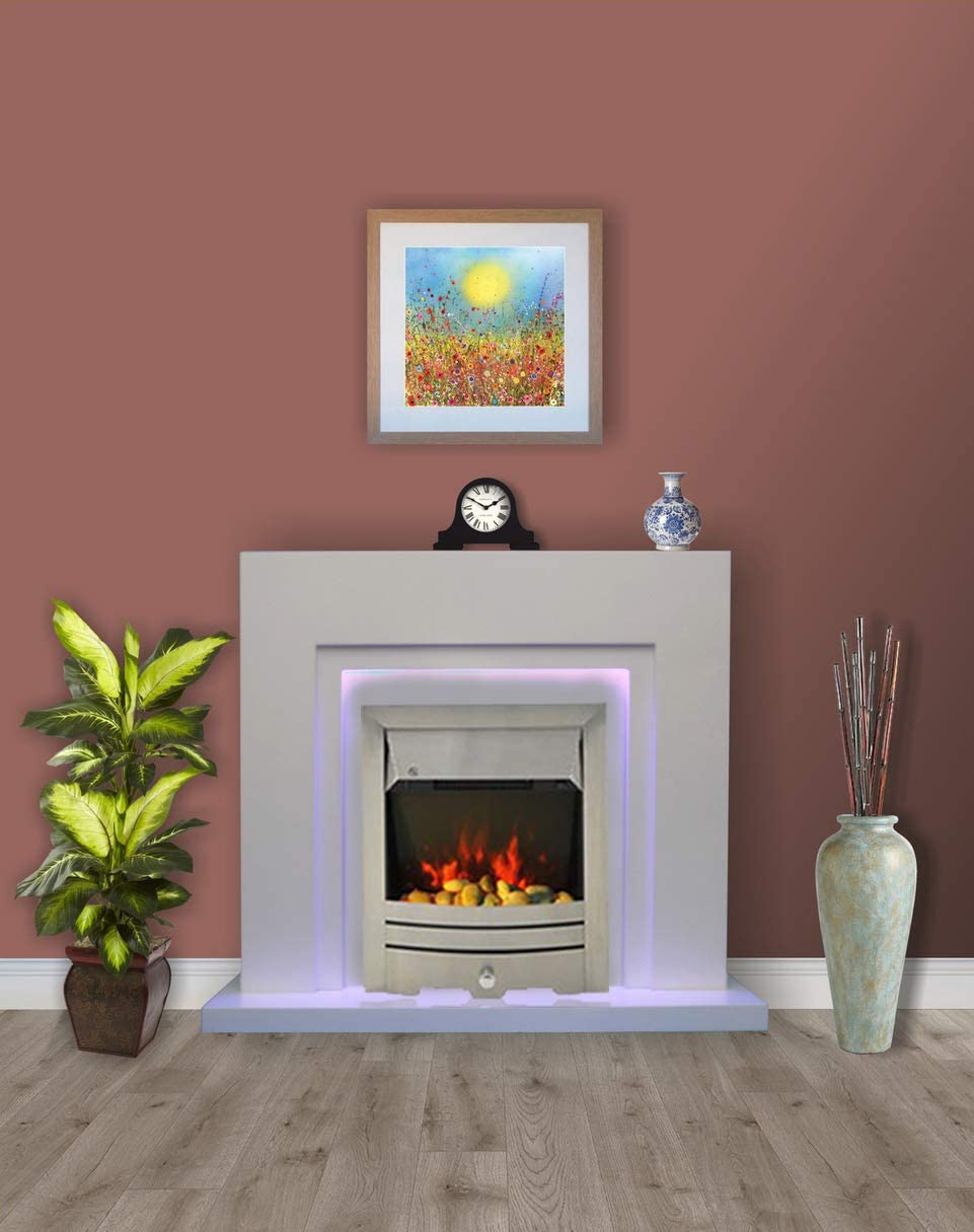 Modern White Flat Wall 2KW Electric Fire Surround Fireplace with LED Light with Brushed Steel Electric Fire