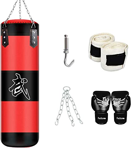 XF Heavy Boxing Punching Bag Training Gloves Speed Set Kicking MMA Workout Gym