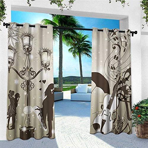 (leinuoyi Romantic, Outdoor Curtain Set, Kissing Couples on Street with Lanterns Violin Music Love Valentines Theme, Outdoor Curtain Panels for Patio Waterproof W108 x L108 Inch Dust Dark Taupe)