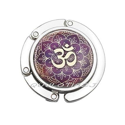 Amazon om purse hook yoga jewelry purple lotus flower om symbol om purse hook yoga jewelry purple lotus flower om symbol buddhism zen henna art bag hook mightylinksfo