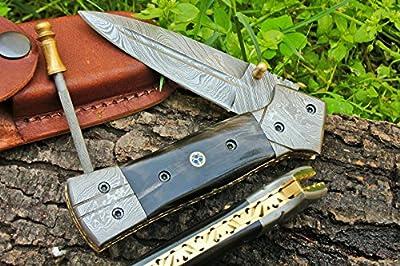 "DKC-130 Night Star Folding Pocket Hunting Knife Damascus Blade 4.5' Folded 8"" Open 9.5 oz"
