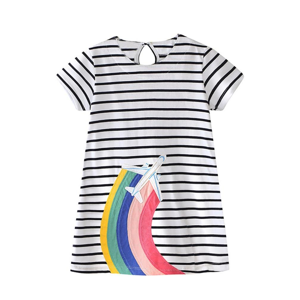 Vincent& July Toddler Baby Girls Summer Rainbow Stripe Dress O-Neck Or Lapel Clothes