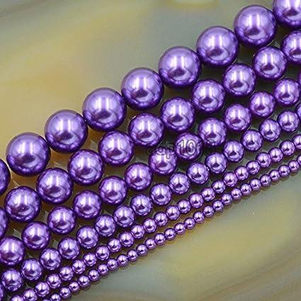 New 100pcs 4mm Round Glass Pearl Loose Beads Bulk Jewelry Making Bright Purple