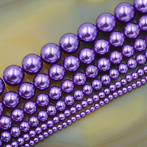 AD Beads Top Quality Czech Glass Pearl Round Beads 16'' 3mm 4mm 6mm 8mm 10mm 12mm (8mm, Amethyst)
