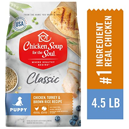 CHICKEN SOUP FOR THE SOUL Puppy Food, Chicken, Turkey & Brown Rice Recipe, 4.5 lb. Bag | Soy Free, Corn Free, Wheat Free | Dry Dog Food Made with Real Ingredients