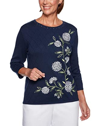 27ca17b8036df Alfred Dunner Greenwich Hills Asymmetrical Floral Embroidery Sweater at  Amazon Women s Clothing store