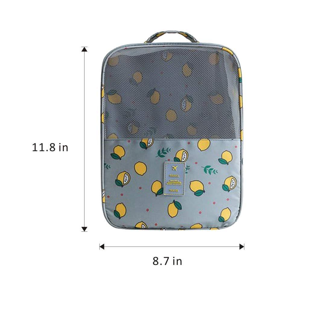 Lemon Formemory Waterproof Shoe Storage Bag for Travel Double Layer Zipper Portable Shoe Organizer