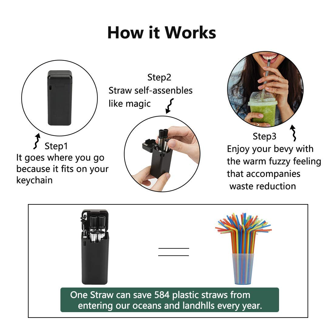 Flysea Collapsible Reusable Drinking Straw, Stainless Steel Food-Grade Folding Straws Portable Travel Straws with Hard Case Holder & Cleaning Brush BPA Free, 1 Pack of Green