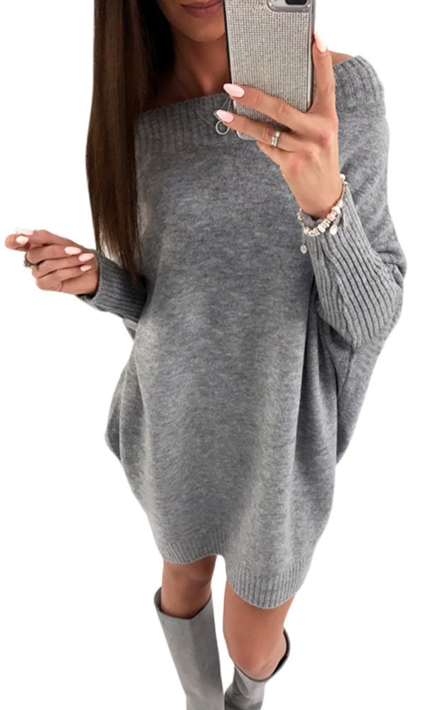 Womens Sexy Off Shoulder Sweater Bat Wing Sleeve Loose Oversized Pullover Knitted Jumper Grey XL