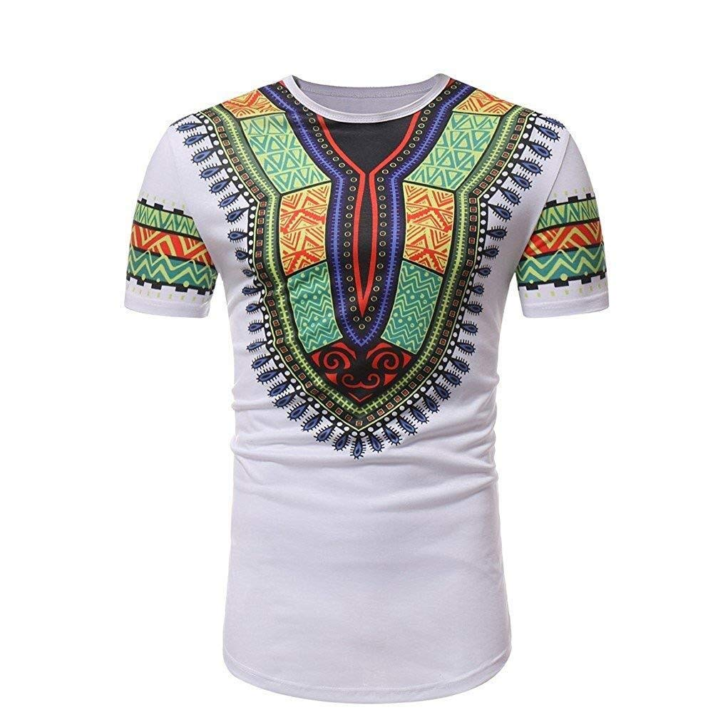 Hermia Retro Men Slim Fit Short Sleeve Tee Shirt African Style Sport T Shirt Pullover Sweatshirts (Color : White, Size : Large)