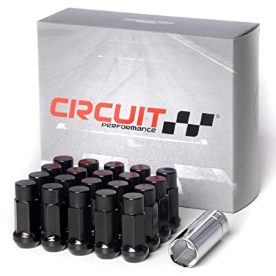 Circuit Performance Forged Steel Extended Closed End Hex Lug Nut for Aftermarket Wheels: 12x1.5 Black - 20 Piece Set + Tool: Automotive