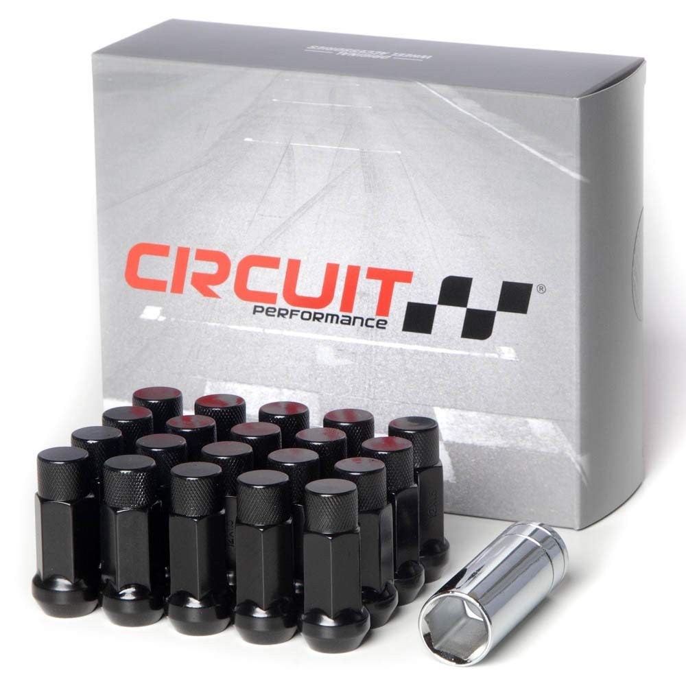 Circuit Performance Forged Steel Extended Hex Lug Nut Aftermarket Wheels: 12x1.25 Black - 20 Piece Set + Tool