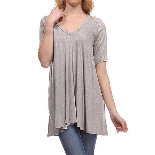 Vovotrade Mujeres Túnica de cuello en V blusa suelta Top manga corta camiseta