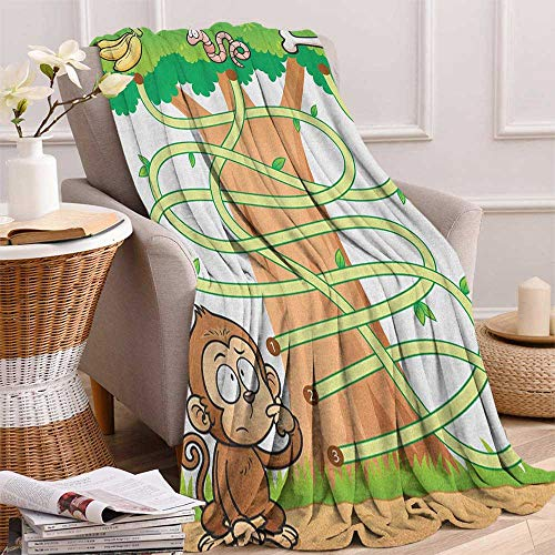 """ScottDecor Bed or Couch 80"""" x 60""""Kids Activity Cozy Flannel Blanket Curious Monkey Trying to Reach The Banana Maze Design Pathway Funky Forest Digital Printing Blanket Multicolor"""