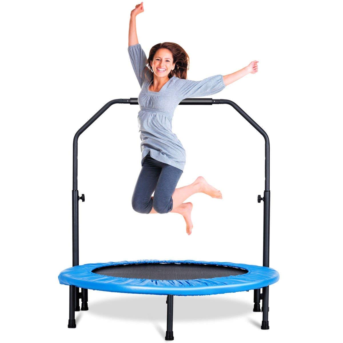 GYMAX Mini Trampoline, Rebounder Exercise Trampoline for Outdoor Indoor Fitness Workout, with Handle Rail by GYMAX (Image #5)