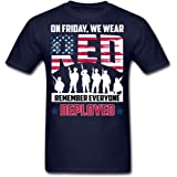 Remember Everyone Veterans Red Friday T-Shirt Short Sleeve Adult Funny T Shirt for Men