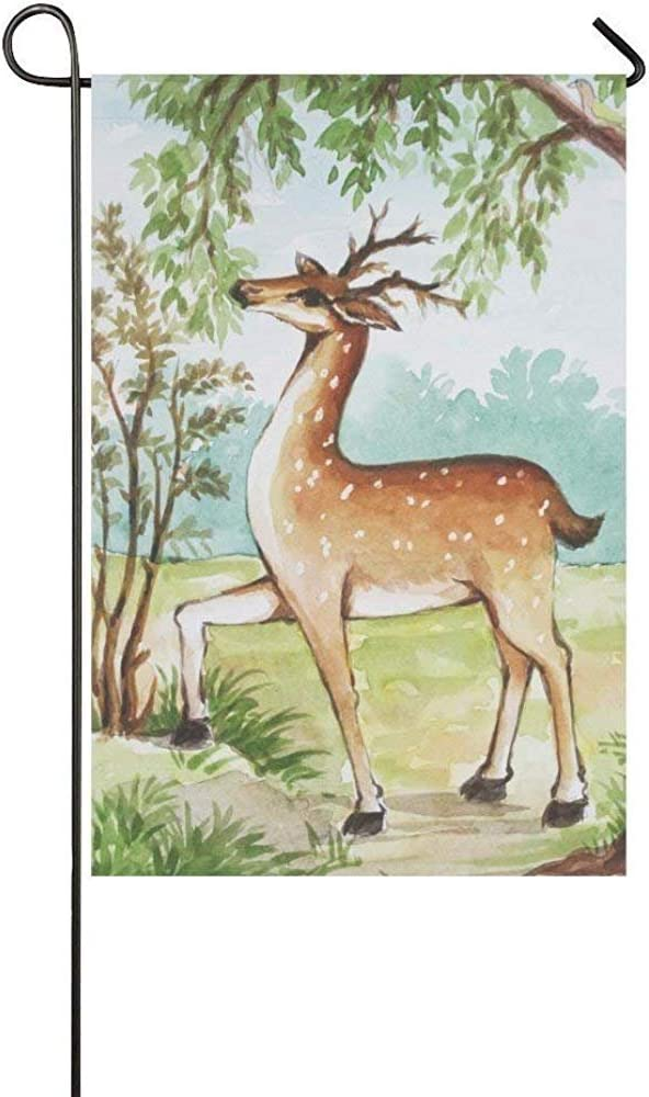 amazon com starowas watercolor deer in forest garden flag banner 12 x 18 inch wild animal in tree forest decorative yard flag party home outdoor decor 100 polyester garden outdoor amazon com