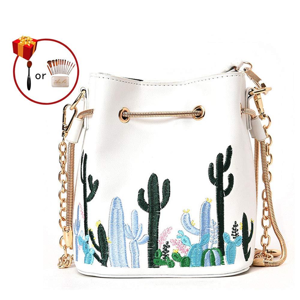 LABANCA Womens Mini Bucket Purse Floral Shoulder Bag with Drawstring Chain Cross Body Bag 10453341