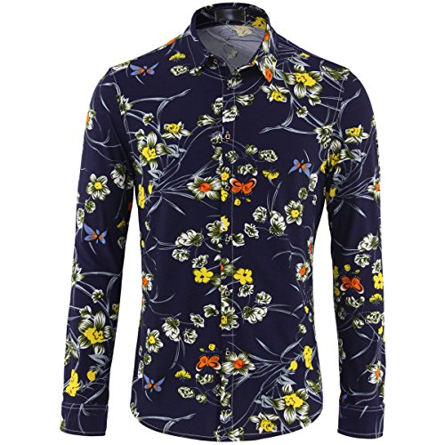 Mens Floral Shirts Long Sleeve Flower Hawaiian Casual Shirt