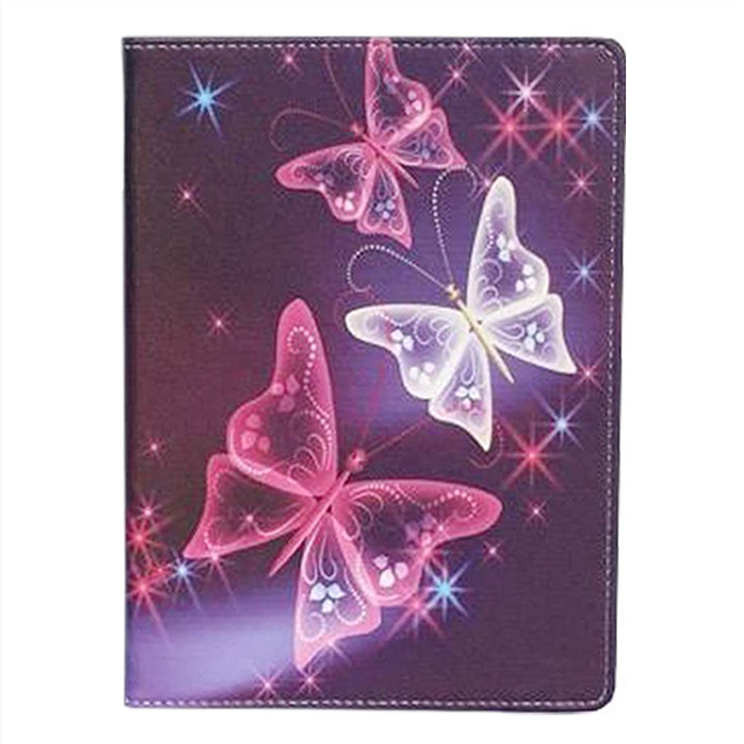 Roba de Cellulare Universal Eco-Leather Case for Tablet 360/° Rotating with Support Suitable for All Android 10 and 10.1 Tablets with Stylus Touch Pen Violeta Butterfly Purple