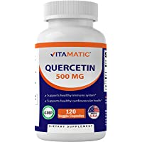 Vitamatic Quercetin 500 mg, 120 Vegetarian Capsules (Non-GMO, Gluten Free, Vegan) - Supports Cardiovascular Health…