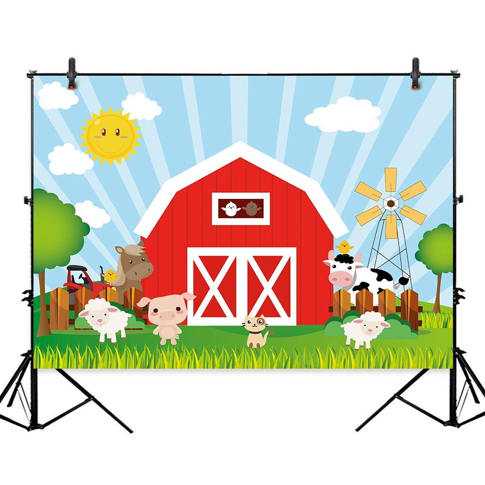 Allenjoy 7x5ft Farm Animals Birthday Party Backdrop Red Barn Cartoon Barnyard Dessert Table Decorations Supplies Baby Shower Banner Kids Photography Background Photo Studio Props