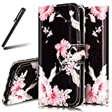 iPhone 6S Stand Case,iPhone 6 Wallet Case,iPhone 6 Cover,Flip Case for iPhone 6 / 6S,SKYMARS iPhone 6S Cover Marble Creative Design Book Style PU Leather Flip Kickstand Cards Slot Wallet Magnet Protective Stand Case for iPhone 6 / 6S 4.7 inch Pink Flower